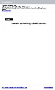 The social epidemiology of schizophrenia