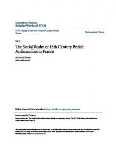The Social Realm of 18th Century British Ambassadors to France