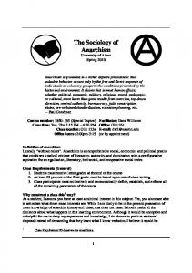 The Sociology of Anarchism University of Akron Spring 2010