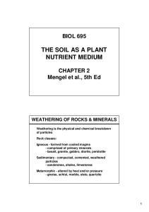 THE SOIL AS A PLANT NUTRIENT MEDIUM