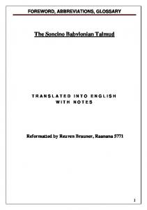 The Soncino Babylonian Talmud