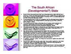 The South African (Developmental?) State