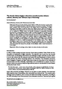 The South African higher education transformation debate: culture, identity and African ways of knowing
