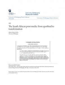 The South African print media: from apartheid to transformation