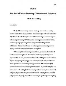 The South Korean Economy: Problems and Prospects