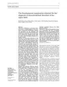 The Southampton examination schedule for the diagnosis of musculoskeletal disorders of the upper limb