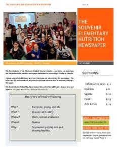 THE SOUVENIR ELEMENTARY NUTRITION NEWSPAPER
