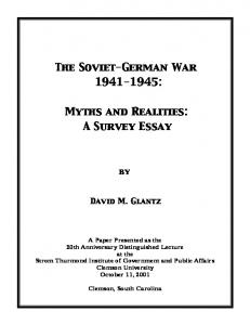 The Soviet-German War : Myths and Realities: A Survey Essay