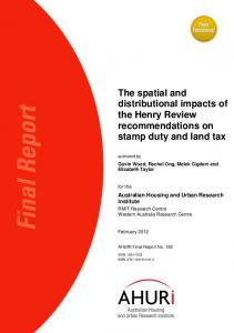 The spatial and distributional impacts of the Henry Review recommendations on stamp duty and land tax