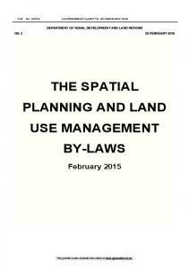 THE SPATIAL PLANNING AND LAND USE MANAGEMENT BY-LAWS