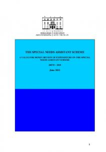 THE SPECIAL NEEDS ASSISTANT SCHEME