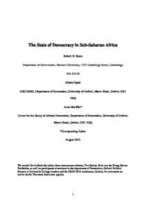 The State of Democracy in Sub-Saharan Africa