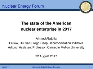 The state of the American nuclear enterprise in 2017