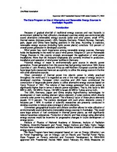 The State Program on Use of Alternative and Renewable Energy Sources in Azerbaijan Republic. Introduction