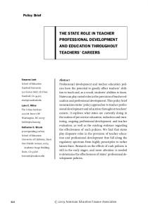 THE STATE ROLE IN TEACHER PROFESSIONAL DEVELOPMENT AND EDUCATION THROUGHOUT TEACHERS CAREERS