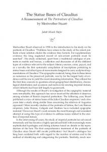 The Statue Bases of Claudius A Reassessment of The Portraiture of Claudius by Meriwether Stuart 1