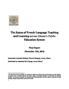 The Status of French Language Teaching and Learning across Ghana s Public Education System