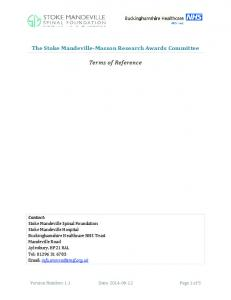 The Stoke Mandeville-Masson Research Awards Committee. Terms of Reference