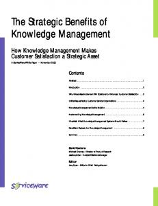 The Strategic Benefits of Knowledge Management