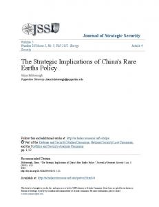 The Strategic Implications of China's Rare Earths Policy