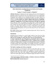 THE STRATEGIC MARKETING FUNCTION IN DYNAMIC MARKETS