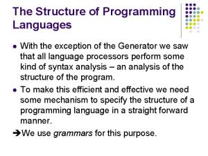 The Structure of Programming Languages