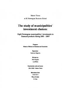 The study of municipalities` investment choices: