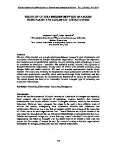 THE STUDY OF RELATIONSHIP BETWEEN MANAGERS PERSONALITY AND EMPLOYEES EFFECTIVENESS