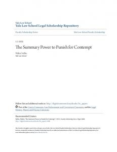 The Summary Power to Punish for Contempt