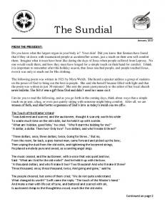 The Sundial. Continued on page 2. January 2017
