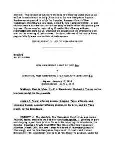 THE SUPREME COURT OF NEW HAMPSHIRE. NEW HAMPSHIRE RIGHT TO LIFE & a. DIRECTOR, NEW HAMPSHIRE CHARITABLE TRUSTS UNIT & a