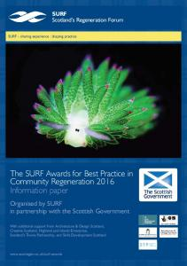 The SURF Awards for Best Practice in Community Regeneration 2016 Information paper