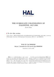 THE SURROGATE COLONIZATION OF PALESTINE,