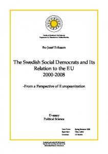 The Swedish Social Democrats and Its Relation to the EU