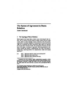 The Syntax of Agreement in Bantu Relatives