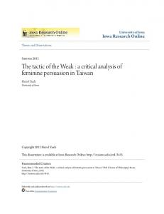The tactic of the Weak : a critical analysis of feminine persuasion in Taiwan