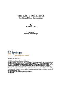 THE TASTE FOR ETHICS