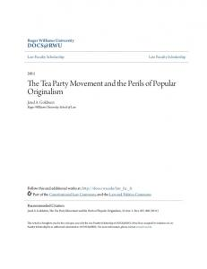 The Tea Party Movement and the Perils of Popular Originalism