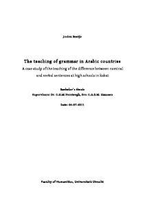 The teaching of grammar in Arabic countries