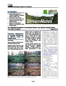 The Technical Newsletter of the National Stream and Aquatic Ecology Center Fort Collins, Colorado August 2015