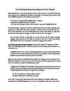 The Teleological Argument (Argument from Design)