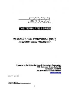 THE TEMPLATE SERIES REQUEST FOR PROPOSAL (RFP) SERVICE CONTRACTOR