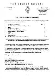 THE TEMPLE CHURCH: MARRIAGE