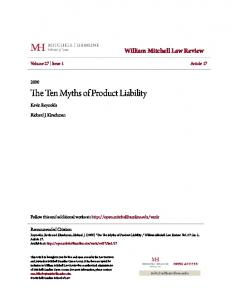 The Ten Myths of Product Liability