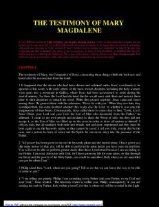 THE TESTIMONY OF MARY MAGDALENE