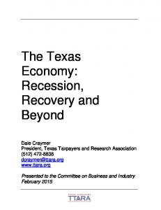 The Texas Economy: Recession, Recovery and Beyond