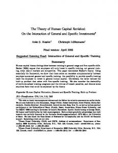 The Theory of Human Capital Revisited: On the Interaction of General and Specific Investments