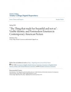 The Thing that made her beautiful and not us : Visible Identity and Postmodern Emotion in Contemporary American Fiction
