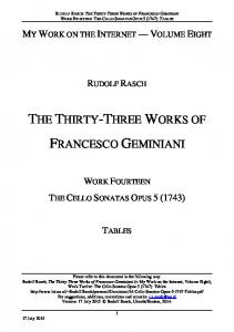 THE THIRTY-THREE WORKS OF FRANCESCO GEMINIANI
