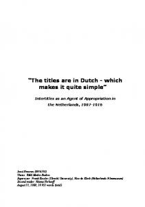 The titles are in Dutch - which makes it quite simple